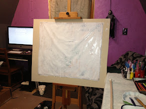 Photo: Easel with gessoed map for next piece.