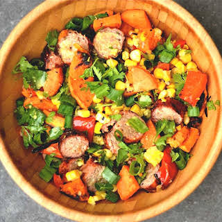 Grilled Sausage and Sweet Potato Salad.
