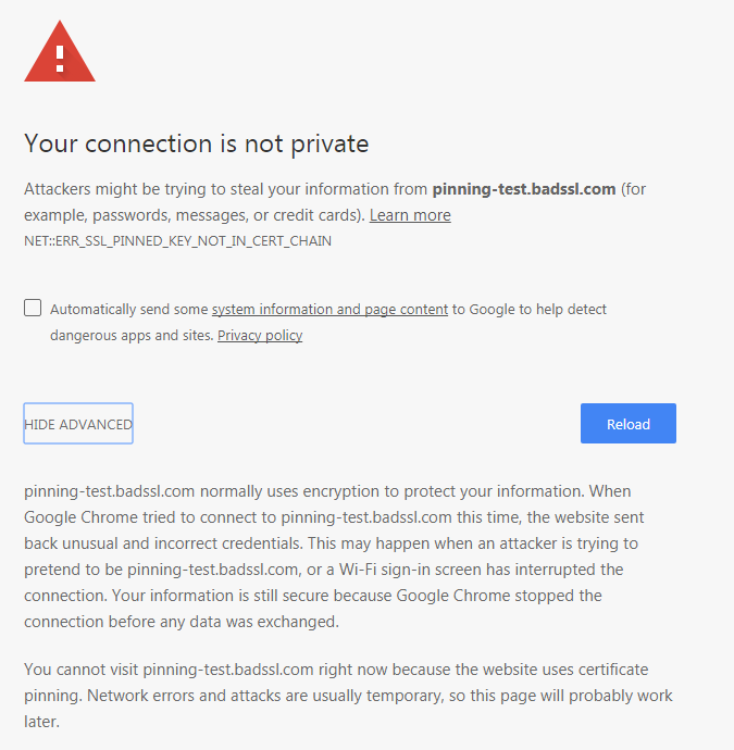 Your connection is not private HPKP