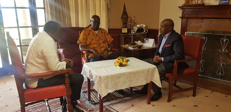 President Uhuru Kenyatta during his visit to former President Daniel arap Moi and Baringo Senator Gideon Moi at his Kabarak home on Monday, April 22, 2019