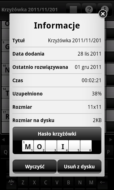 Krzyżówki (Crosswords)- screenshot