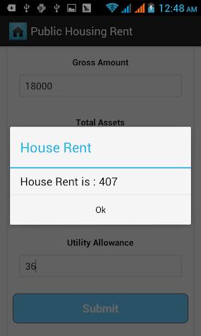 Public Housing Rent Calculator Screenshot