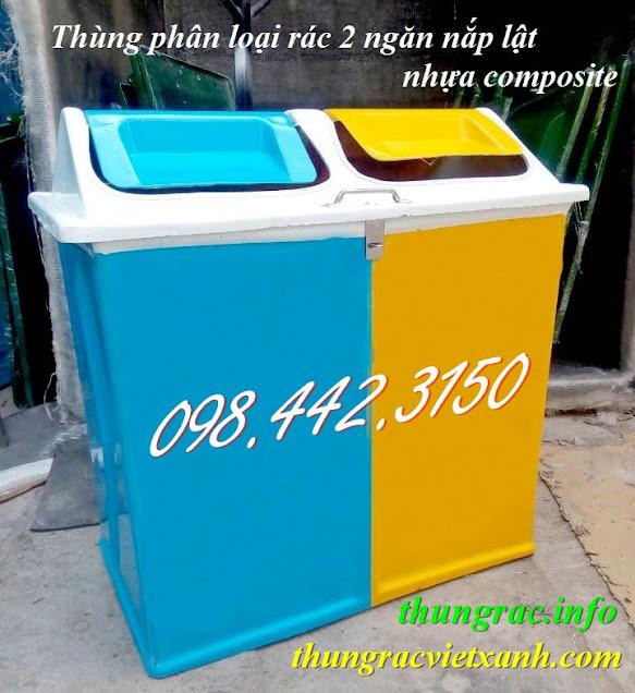 Thùng phân loại rác 2 ngăn nắp lật