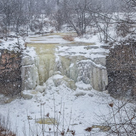 snowing at a frozen waterfall by Jason Lockhart - Landscapes Caves & Formations ( wisconsin, green bay, frozen waterfall, snow, fonferek park, landscape )