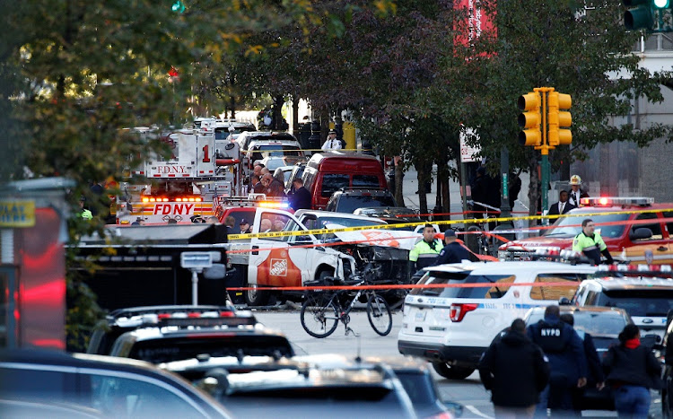 The Home Depot truck which struck multiple people on a bike path, killing several people and injuring numerous others, in lower Manhattan in New York, the US, on Tuesday. Picture: REUTERS