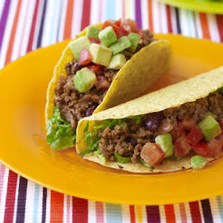 Beef and Bean Tacos with Guacamole.