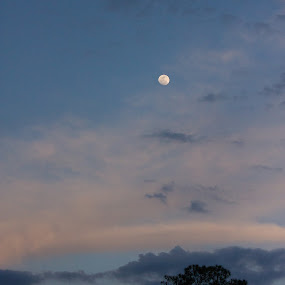 by Debi Henry - Landscapes Cloud Formations ( moon, blue sky )