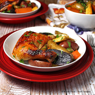 Honey Sriracha Chicken with Fingerling Potatoes, Carrots, and Parsnips Recipe