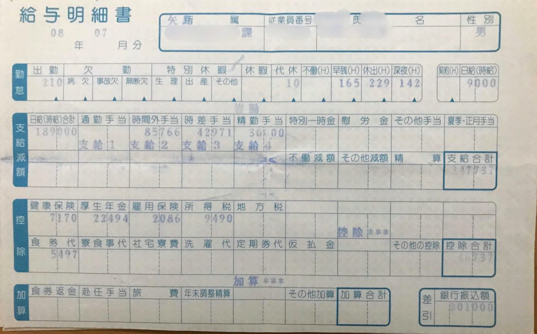2008年7月 スバル期間工 給料明細