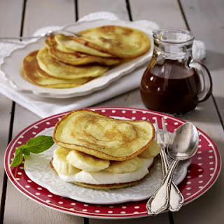 Gluten-Free Pancakes with Chocolate Sauce.