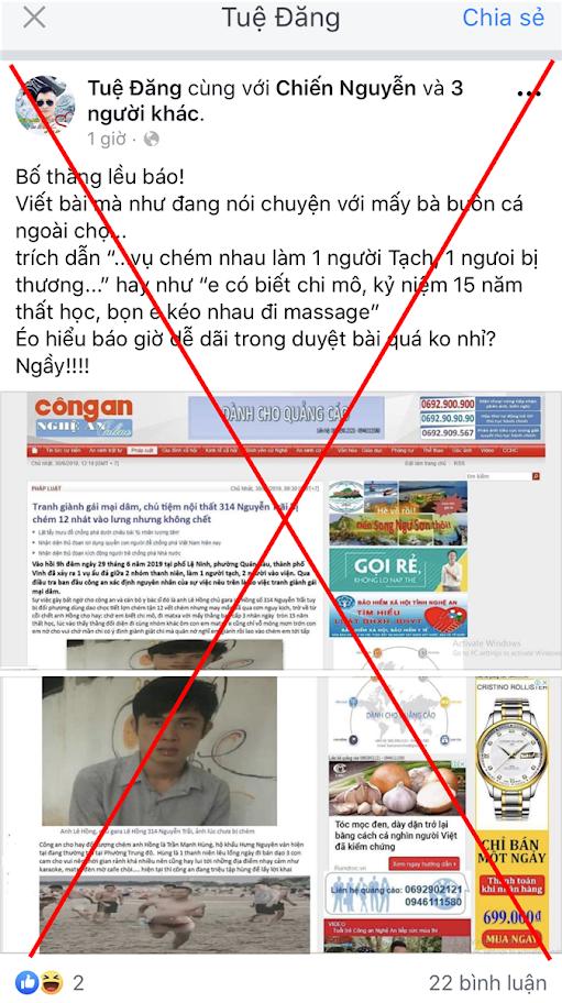 """Bài viết bị cắt ghép được facebook """"Tuệ Đăng""""  đăng tải trên mạng xã hội"""