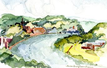Photo: 2010 View of the Ohio River from Eden Park, Cincinnati. Watercolor