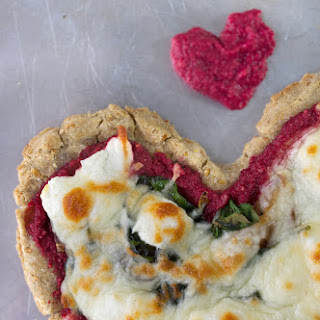 Valentine's Day Heart Pizza with Beet Pesto, Spinach + Goat Cheese