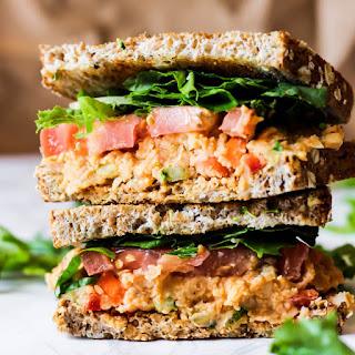 Vegan Buffalo Chickpea Salad Sandwich.