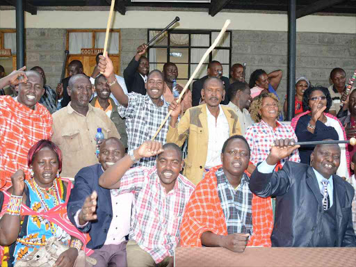 Members of the Maasai community and leaders from Nakuru County in a show of solidarity for the upcoming 260mw geothermal project in Olkaria Naivasha on February 3,2017./GEORGE MURAGE