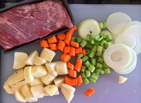 Add the carrots, potatoes, celery, and peas...Allow to cook for 30 to 40 more...