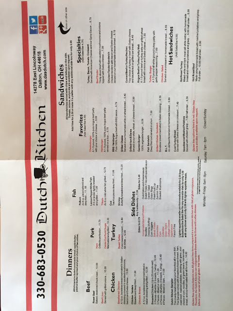 1/2 menu. GF items are in red. GF burger buns available