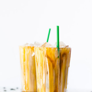 Iced Coconut Milk Caramel Macchiatos.