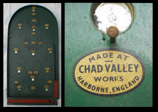 """Photo: A Chad Valley bagatelle board and logo  The roots of 'Chad Valley' (""""CV"""" hereafter) can be traced back to its establishment in Birmingham in the mid-C19th as a printing/stationery business - it's surprising how many toy/games companies started in this way. In 1897 it relocated to Harborne, outside the city, in a valley close to a stream called the Chad, and adopted the trade name 'Chad Valley'. It was a major producer of games/toys in the C20th, moving into soft toys in 1915 due to wartime import restrictions: its teddy bears became a firm favourite and are collectors' items in their own right.   A more complete - and wider - history/time-line of the firm can be found here: http://www.teddy-bear-uk.com/TBUK_Main/TBUK_LearningCentre/TBUK_History/TBUK_Makers/CHAD/Chad.htm The only update to make is that following the demise of Woolworths in 2009, the Chad Valley brand was acquired by the Home Retail Group, and is now exclusively sold through its Argos stores/catalogue."""