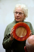 Photo: Tina Chisena with the colored-rim platter she made during the Jimmy Clewes Workshop earlier in the day