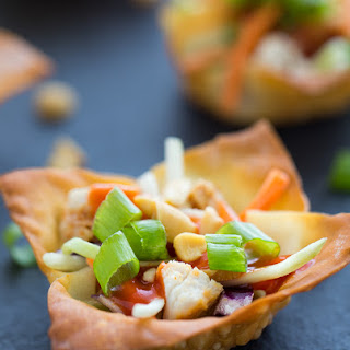 Thai Sriracha Chicken Salad Wonton Cups & Beef Madras Wonton Cups