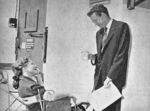 "Photo: Helen Hayes and Robert Walker on the set of ""My Son John"""