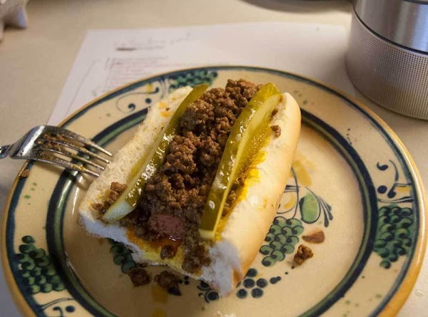 Assembly Put some mustard in the bottom of the bun, lay the hotdog on top...