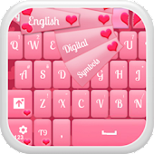 GO Keyboard Pink Hearts Glow