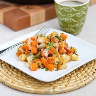 Sweet Potato & Endive Hash Recipe with Sriracha Buttermilk Sauce.