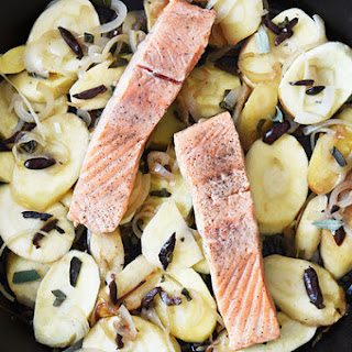 Single-Skillet Salmon With Parsnips, Olives, and Sage