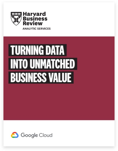 """A picture of the cover page of the report on a maroon background entitled """"Harvard Business Review: Turning Data into Unmatched Business Value"""""""