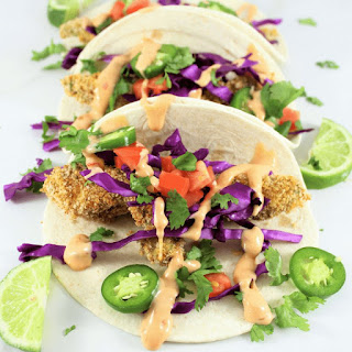 Baked Avocado Tacos with Boom Boom Sauce.