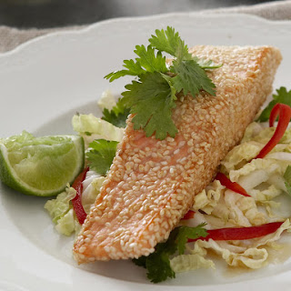Sesame Crusted Salmon with Asian Slaw