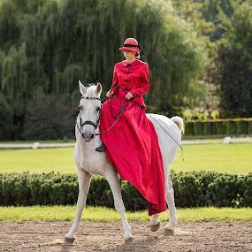Red Dress by Mark Richardson - People Fashion ( budapest, red, europe, dress, horse, 2016, country )