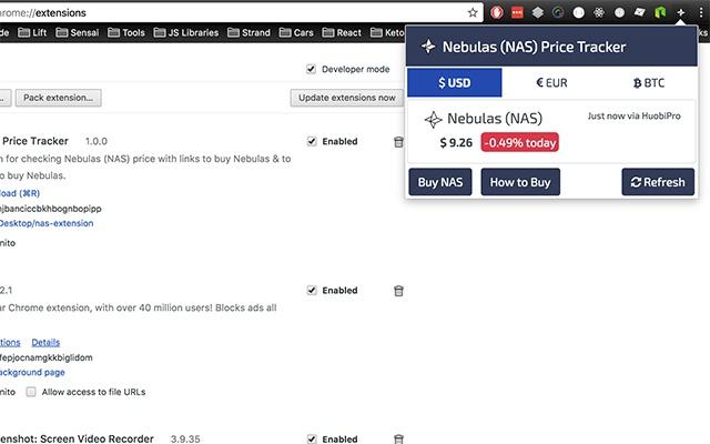 Nebulas (NAS) Price Tracker