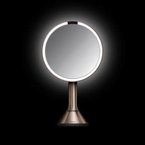 Sensorstyrd Sminkspegel med Belysning Simplehuman  5x Förstoring, reglerbar ljusstyrka via touch, rosenguld