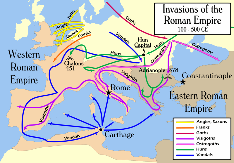 Map of Europe depicting the routes of the major barbarian invasions that destroyed the western half of the Roman Empire.