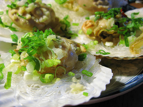chinese, glass noodles, recipe, scallops, steamed scallops, steamed seafood