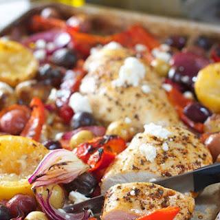 Greek Sheet Pan Chicken Dinner.