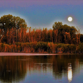 Moon Reflection by Kathy Woods Booth - Landscapes Waterscapes ( reflection, moon, waterscape, sundown, reflections, dusk, moonlight )