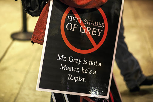 A protestor from the S&M community showed up to voice their opposition to the portrayal of S&M in the film version of 'Fifty Shades of Grey'.