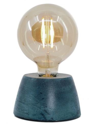 lampe béton couleur  bleu pétrole forme de dôme design création fait-main en atelier français
