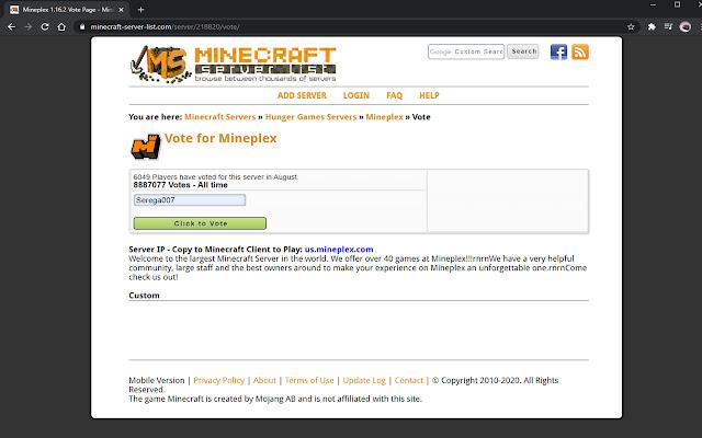 Auto Vote Minecraft Rating