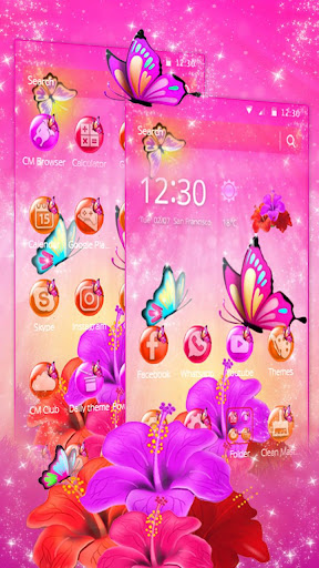 pink butterfly flower theme screenshot 3