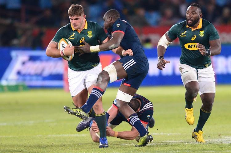 Yacouba Camara of the French tackles Malcolm Marx of the Springboks during the Castle Lager Incoming Series 1st Test between South Africa and France at Loftus Versfeld on June 10, 2017 in Pretoria. Picture: LEE WARREN/ GALLO IMAGES
