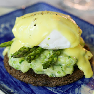 Poached Eggs with Creamed Zucchini, Asparagus, and Hollandaise.