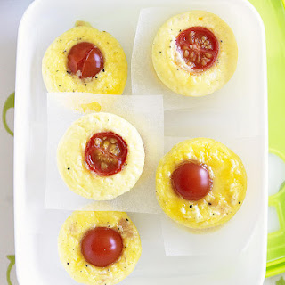 Mini Ham, Cheese and Tomato Frittatas.