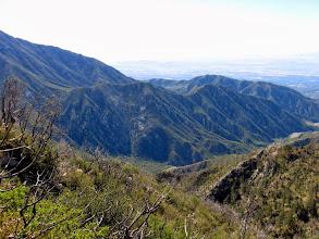 Photo: From same junction on south ridge of Sunset Peak, view southeast toward lower San Antonio and Stoddard Peak (on left)