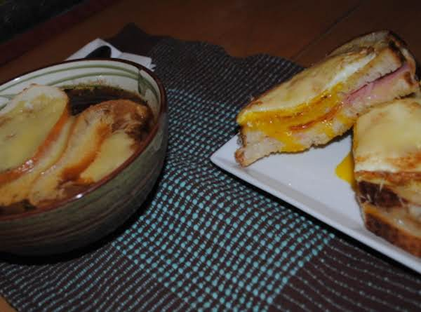 French Onion Soup With Grilled Ham & Cheese Sandwich- French Style Recipe