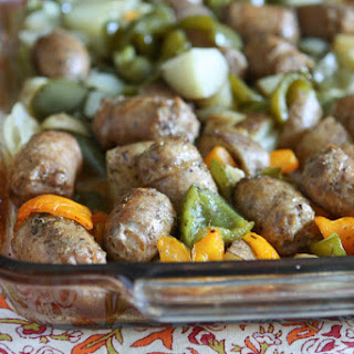 Roasted Italian Turkey Sausage, Potatoes and Peppers.